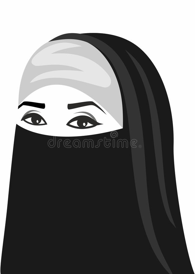 Arabic woman. Beautiful arabic woman on a white background vector illustration