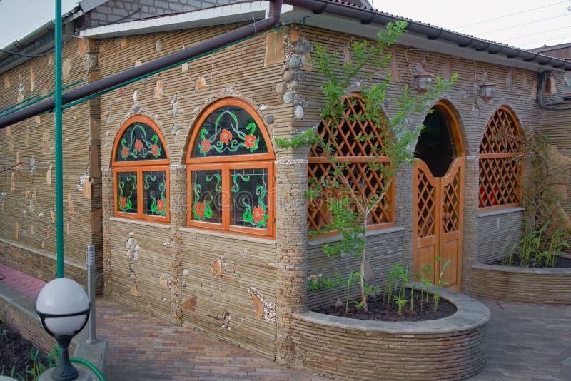 Beautiful arbor built of natural stone. royalty free stock image