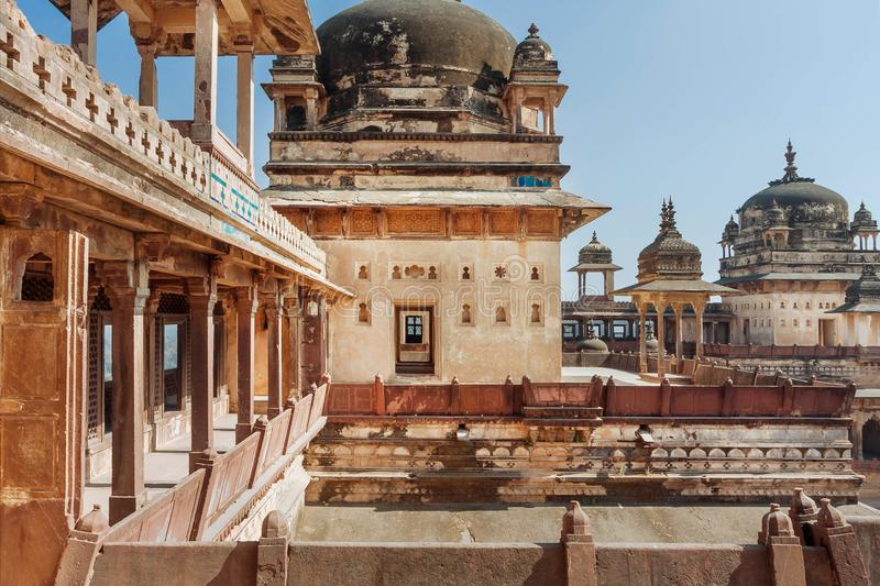 Beautiful arches and towers of the 17th century Citadel of Jahangir, Orchha in India. Example of mix of Indian and Mughal style of architecture stock photos