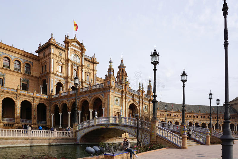 Beautiful architechture of Plaza de España building with Spanis royalty free stock photography
