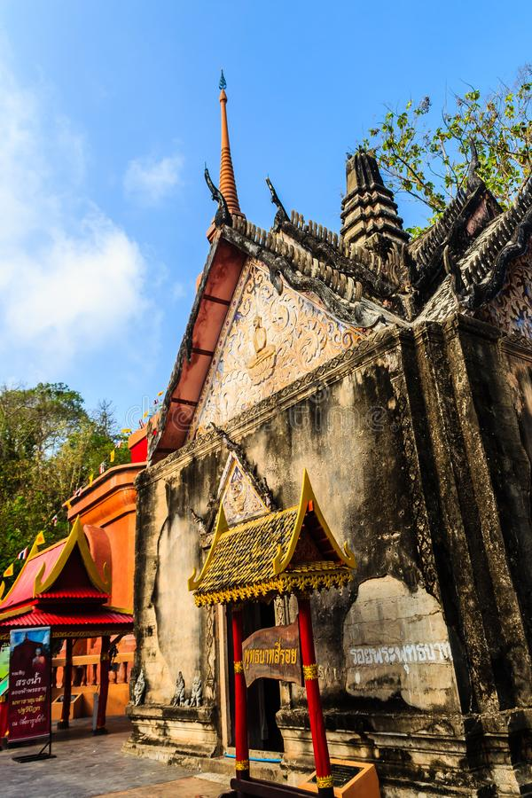 Beautiful architectural buildings of Wat Khao Rup Chang or Temple of the Elephant Hill (about 15 Kms south of the provincial centr. E), one of the most famous royalty free stock photography
