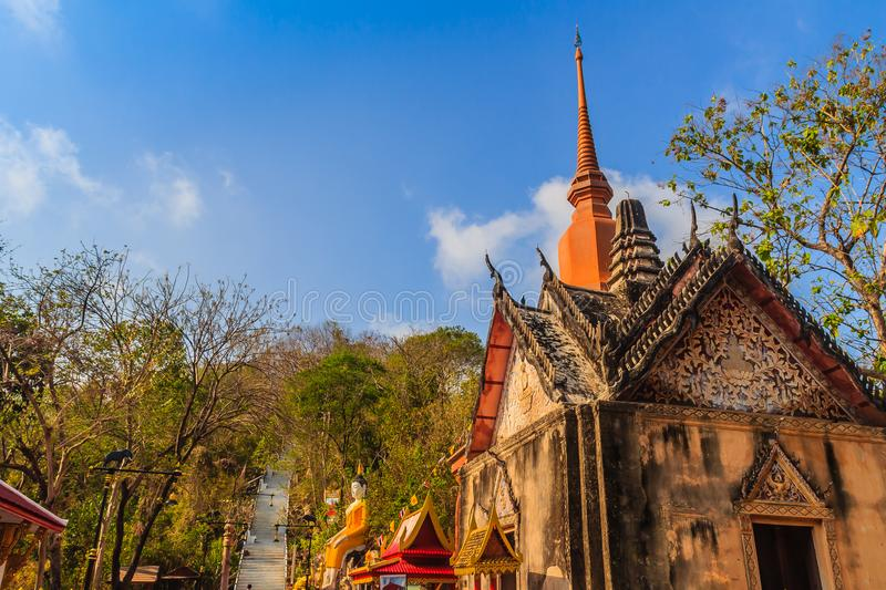 Beautiful architectural buildings of Wat Khao Rup Chang or Temple of the Elephant Hill (about 15 Kms south of the provincial centr. E), one of the most famous stock photos
