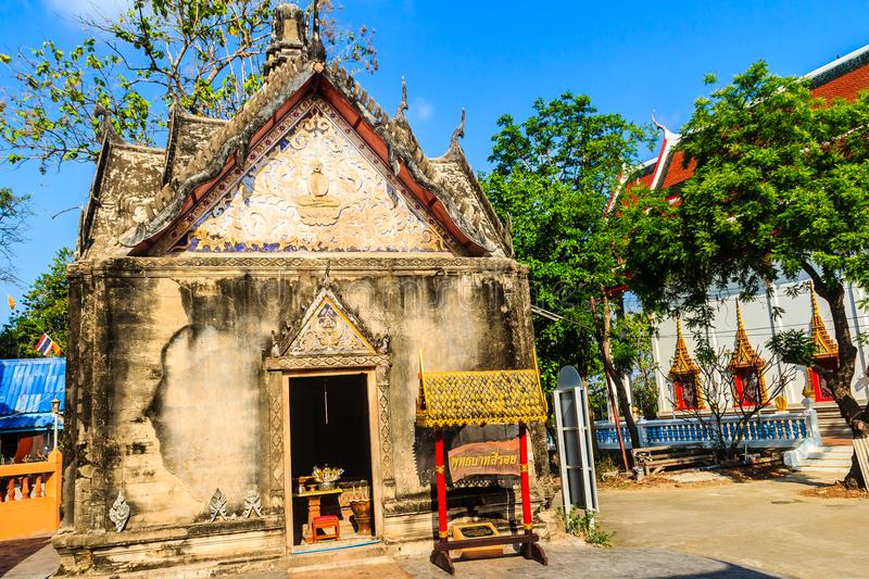 Beautiful architectural buildings of Wat Khao Rup Chang or Temple of the Elephant Hill (about 15 Kms south of the provincial centr. E), one of the most famous stock photography