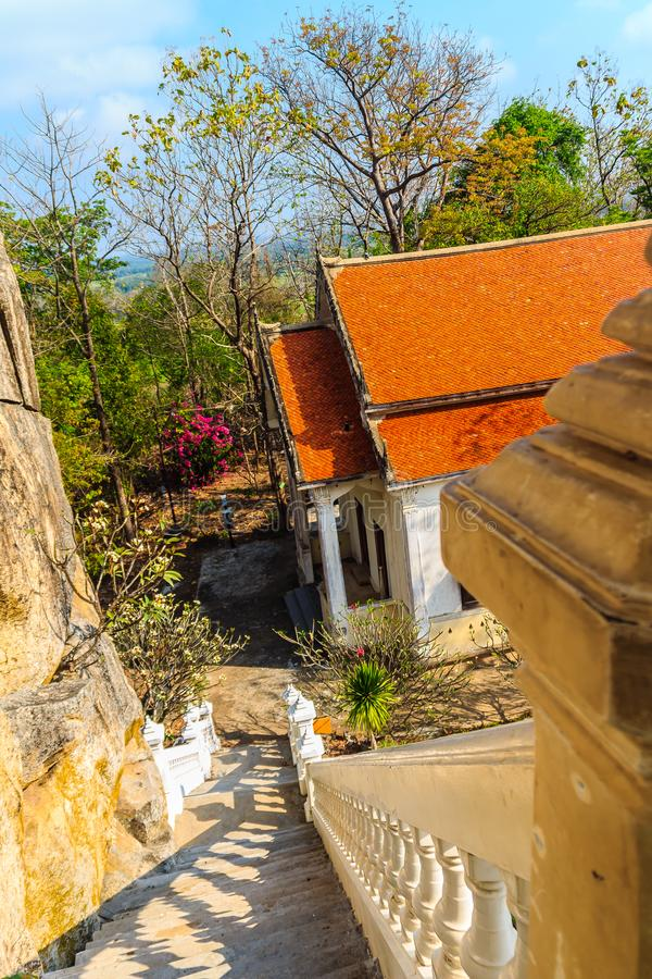 Beautiful architectural buildings of Wat Khao Rup Chang or Temple of the Elephant Hill (about 15 Kms south of the provincial centr. E), one of the most famous royalty free stock photos