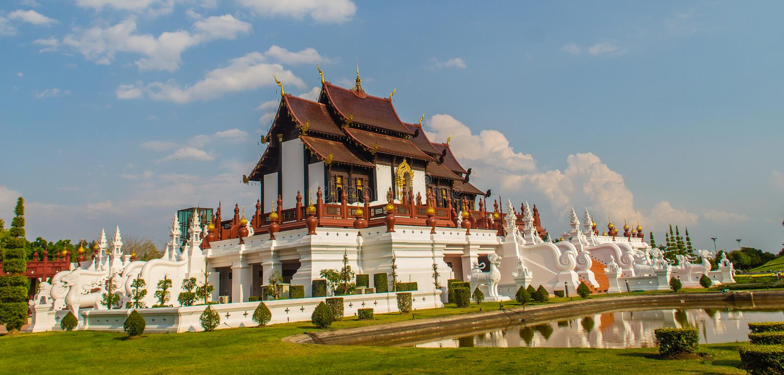 Beautiful architectural of Ho Kham Luang, the royal pavilion in lanna style building at the royal flora international horticulture stock photos
