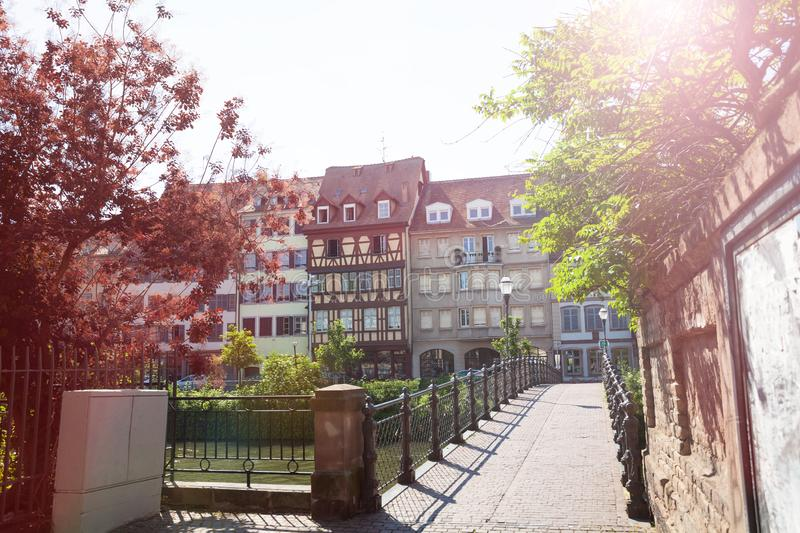 Beautiful architecture along Ill river, Strasbourg, France royalty free stock image