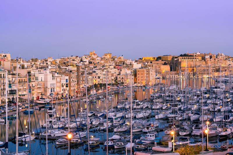 Beautiful architecture and boats in harbour,Three Cities,Malta royalty free stock photography