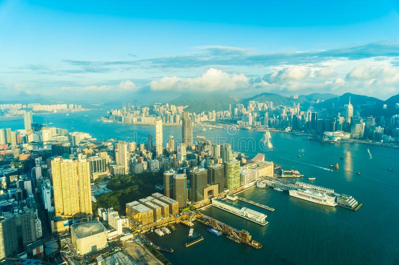 Beautiful architecture building exterior cityscape of hong kong city skyline royalty free stock image