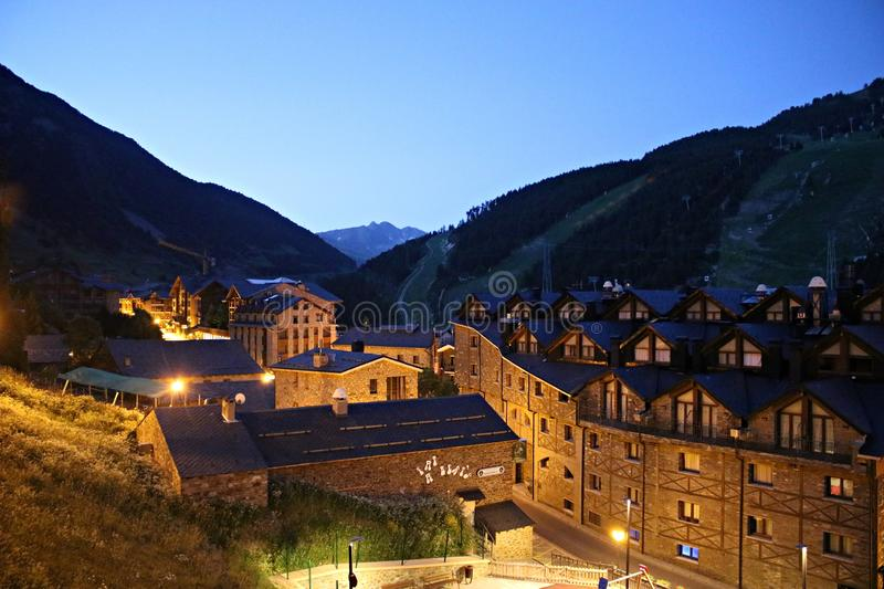 Beautiful architecture of buildings made of natural stone in the city of Soldeu. Andorra, June 29, 2019.  stock photos