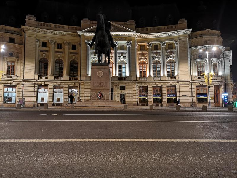 The Central University Library of Bucharest at night royalty free stock photos