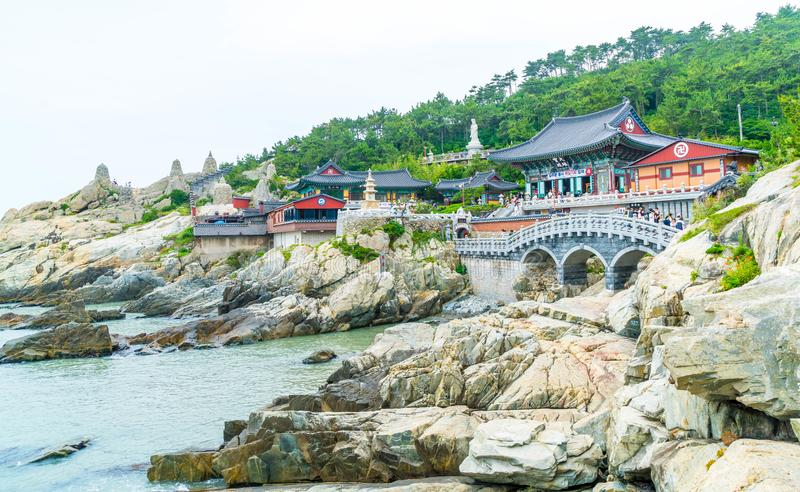 Beautiful Architecture at Haedong Yonggungsa Temple sits upon a. Cliff in Busan, South Korea stock images