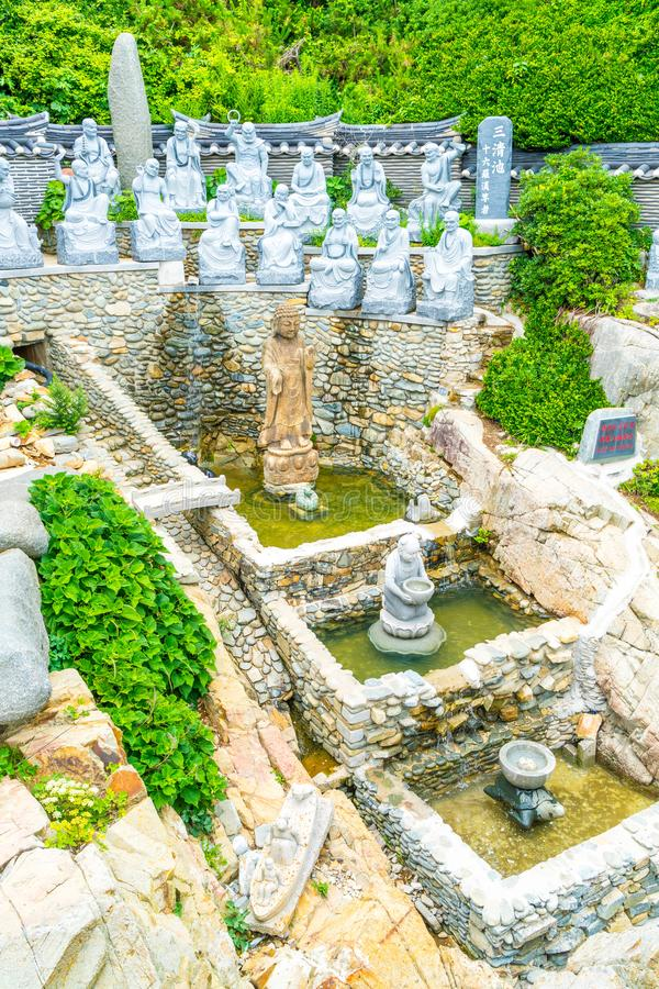 Beautiful Architecture at Haedong Yonggungsa Temple sits upon a. Cliff in Busan, South Korea stock photos