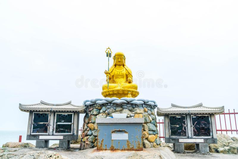 Beautiful Architecture at Haedong Yonggungsa Temple sits upon a. Cliff in Busan, South Korea royalty free stock photography