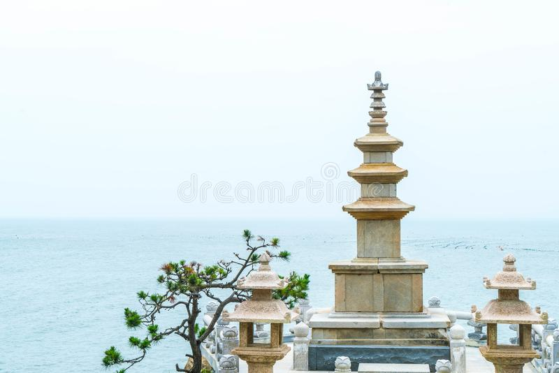 Beautiful Architecture at Haedong Yonggungsa Temple sits upon a. Cliff in Busan, South Korea royalty free stock photos