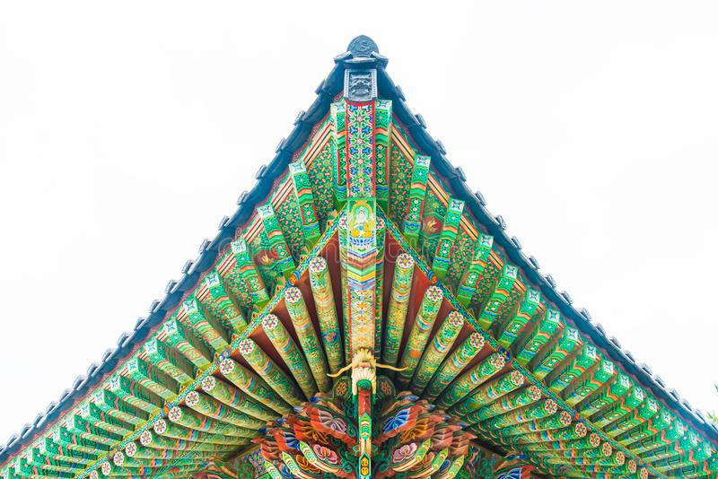Beautiful Architecture at Haedong Yonggungsa Temple sits upon a. Cliff in Busan, South Korea stock image
