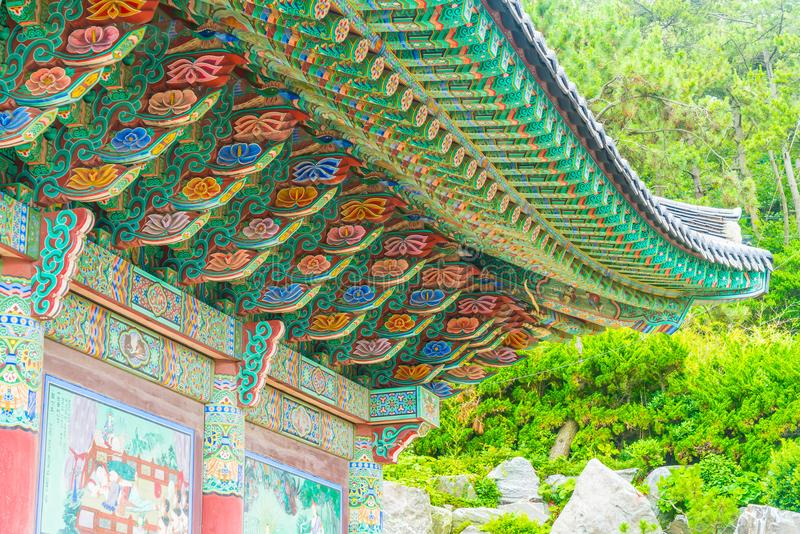 Beautiful Architecture at Haedong Yonggungsa Temple sits upon a. Cliff in Busan, South Korea royalty free stock photos