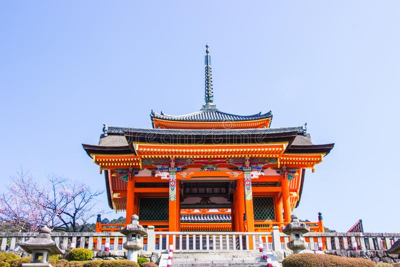 Beautiful architecture inside Kiyomizu-dera temple during cherry sakura blossom time are going to bloom in Kyoto, Japan stock image