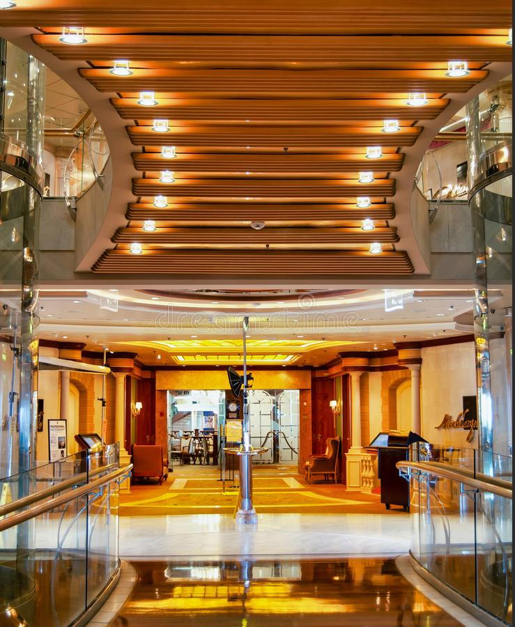 Beautiful architecture inside the Royal Caribbean Liberty of the Seas cruise ship royalty free stock images