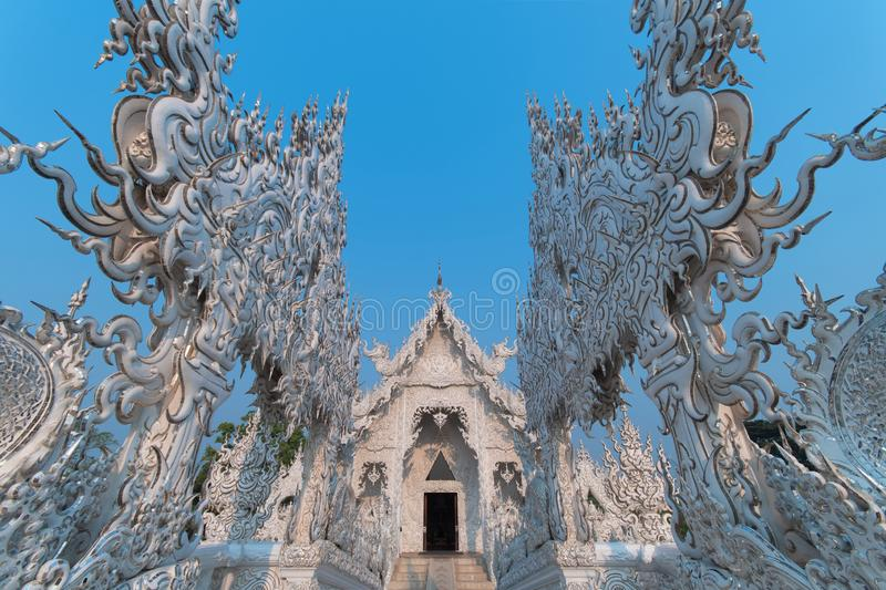 The beautiful architecture inside Wat Rong Khun White Temple in Chiangrai province. In northern of Thailand stock photo