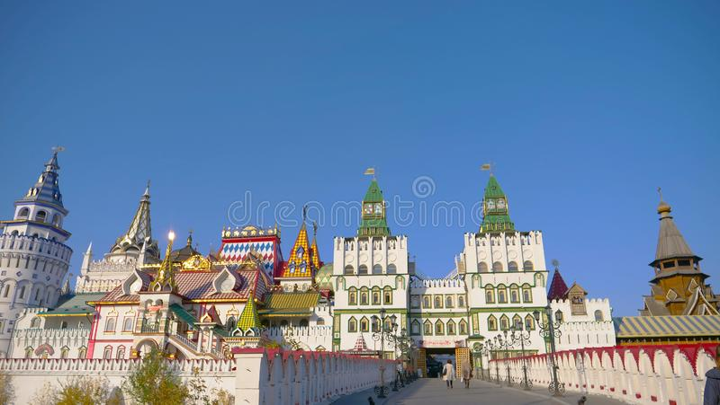 Beautiful architecture of Izmailovsky Market in Moscow Russia stock photos