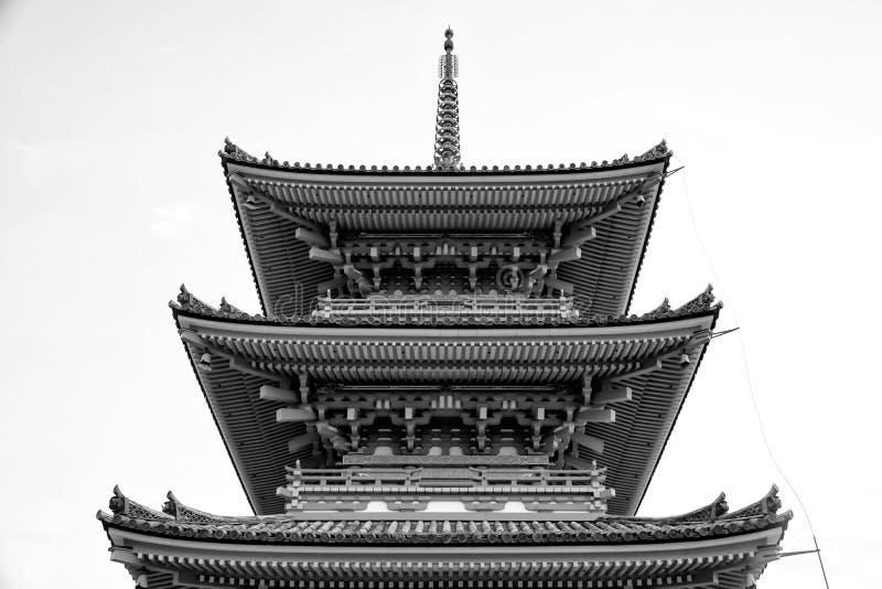 Beautiful Architecture in Kiyomizu-dera Temple Kyoto, Japan (black and white) royalty free stock photography
