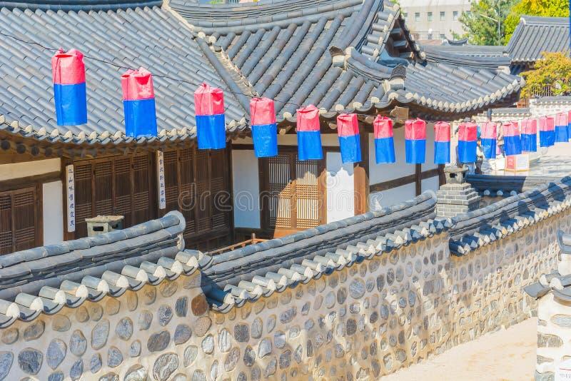 Beautiful Architecture in Namsangol Hanok Village. At Seoul Korea stock photos