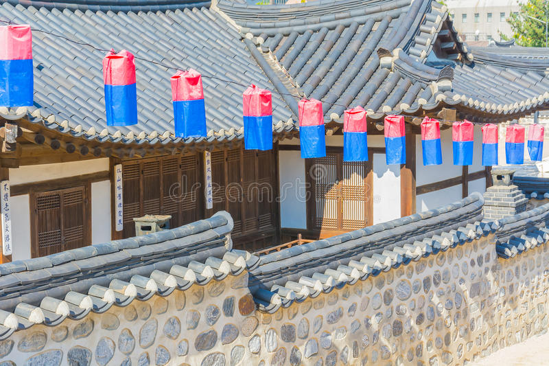 Beautiful Architecture in Namsangol Hanok Village. At Seoul Korea royalty free stock photography