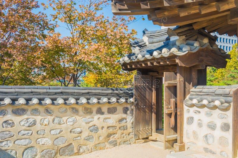 Beautiful Architecture in Namsangol Hanok Village. At Seoul Korea royalty free stock photos