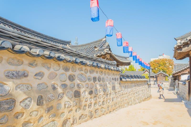 Beautiful Architecture in Namsangol Hanok Village. At Seoul Korea royalty free stock photo