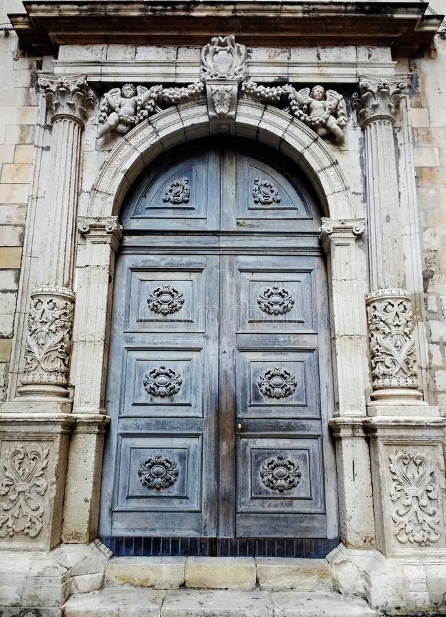 Architectonic details of the building in Catania, Sicily, Italy. royalty free stock photography