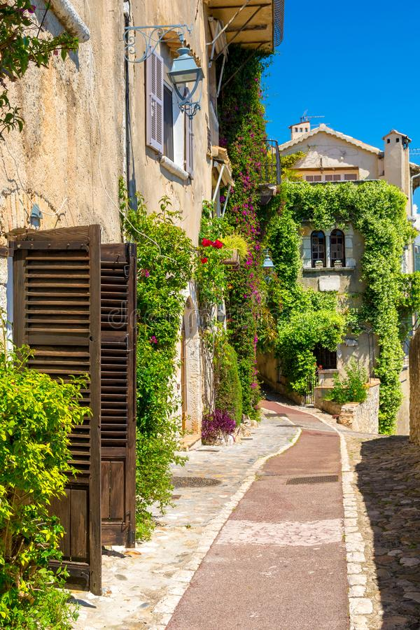 Charming alley in Saint-Paul-de-Vence town in Provence, cote d`azur, France. Beautiful architecture of old town of Saint paul de Vence in southern France royalty free stock photography