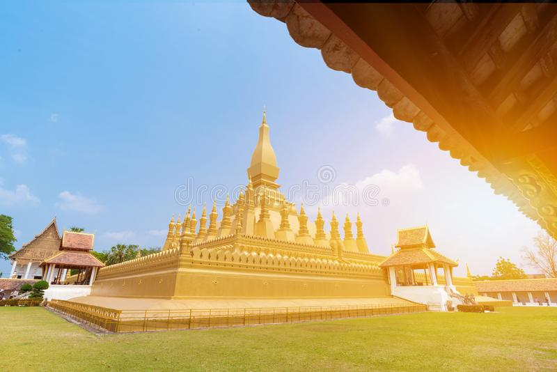 Beautiful Pha That Luang Temple in Vientiane, Laos royalty free stock photo
