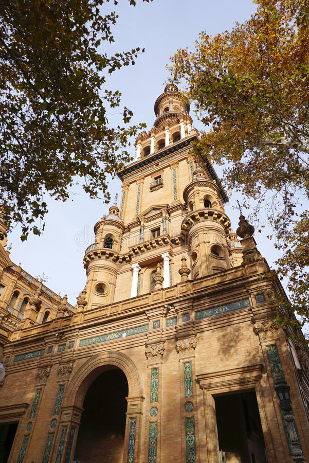 Beautiful architecture of Plaza de España building with autumn royalty free stock photography