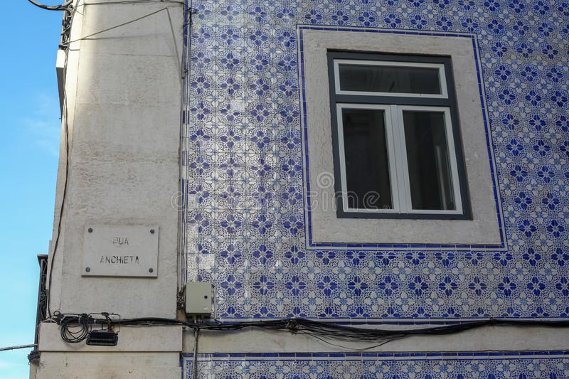 A beautiful architecture of the traditional tiled walled facade stock photography