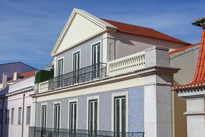 A beautiful architecture of the traditional tiled walled facade royalty free stock image