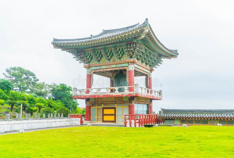 Yakcheonsa Temple in Jeju Island, South Korea. Beautiful architecture at Yakcheonsa Temple in Jeju Island, South Korea royalty free stock photo