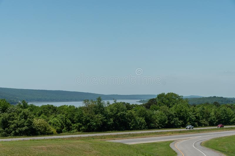 Beautiful Arkansas vista in springtime with Lake Dardanelle in the background. Beautiful panoramic Arkansas vista in springtime with Lake Dardanelle in the stock photos