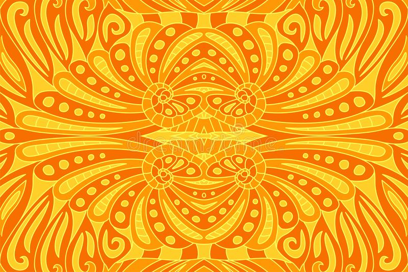 Beautiful art with orange seamless fiery pattern vector illustration