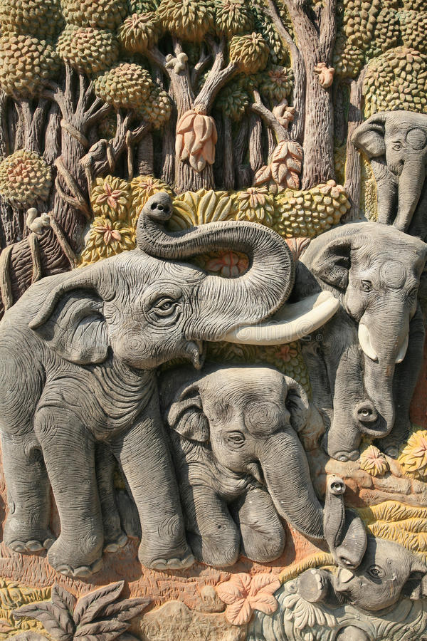 Beautiful Art Sculpture Of Elephants And Nature Stock Images