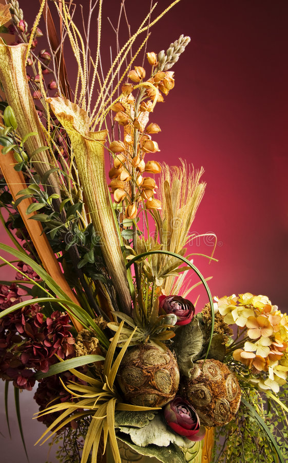 Beautiful Artificial Flower Arrangement In A Vase Royalty Free Stock Image