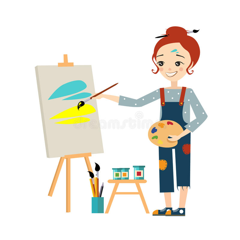 Beautiful Artist Woman Painting on Canvas royalty free illustration