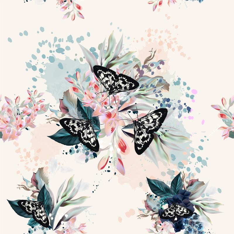 Beautiful artistic pattern with flowers and butterflies in spring peach colors vector illustration