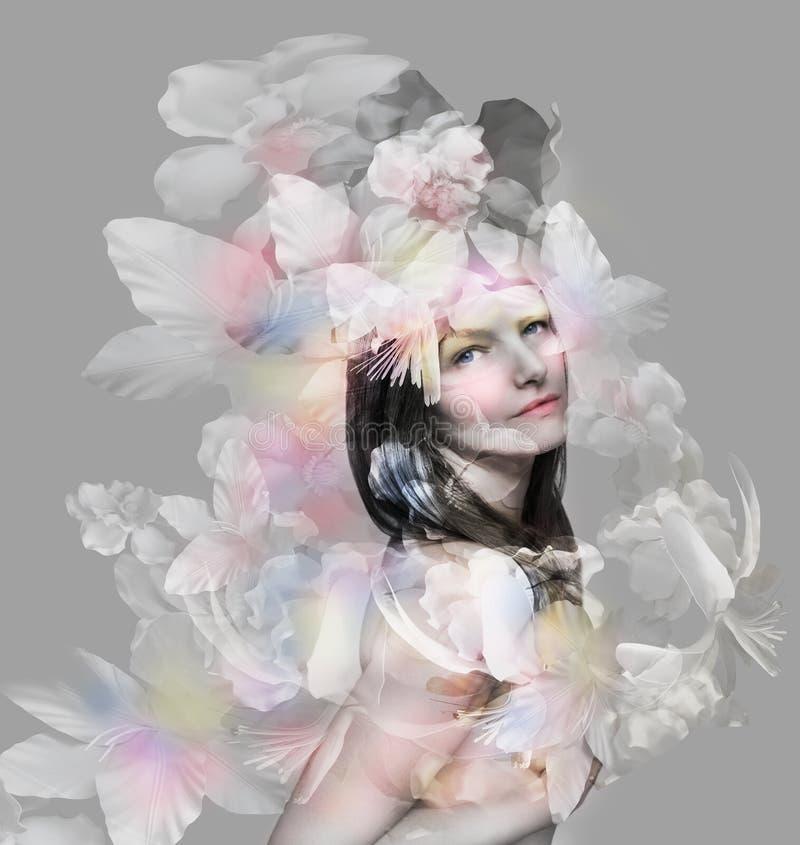 Beautiful artistic portrait royalty free illustration