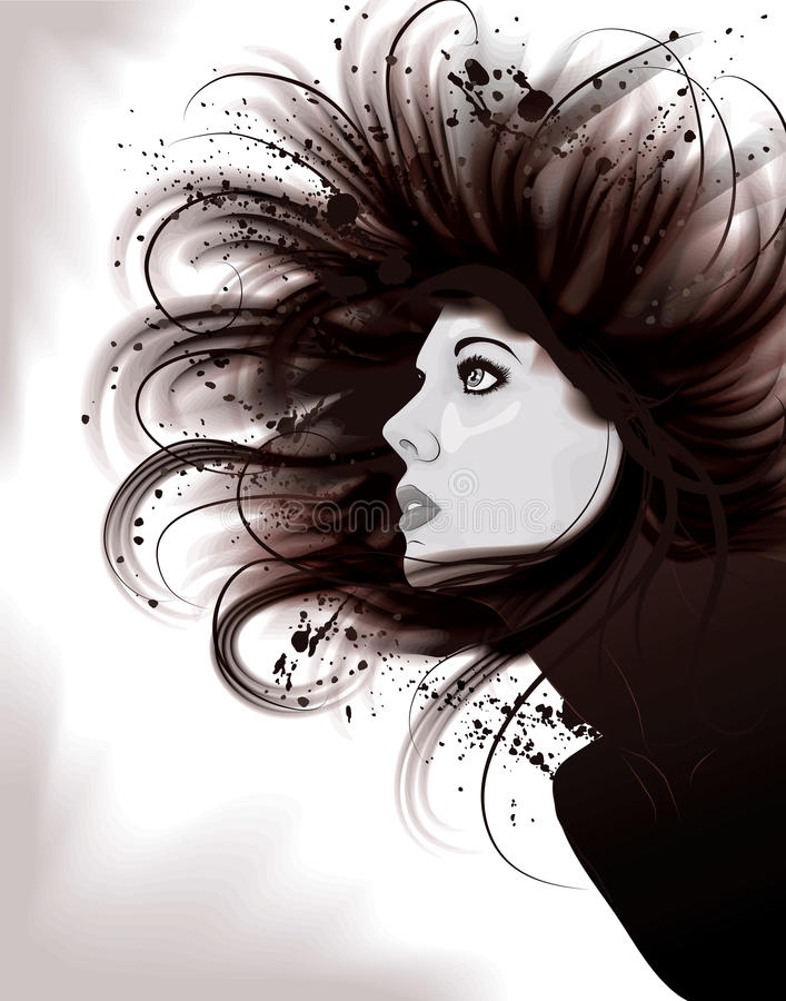 Beautiful artistic portrait illustration of woman vector illustration