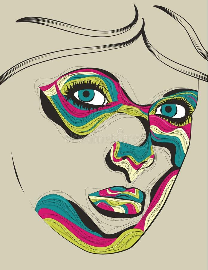 Beautiful artistic portrait illustration of woman vector illustration