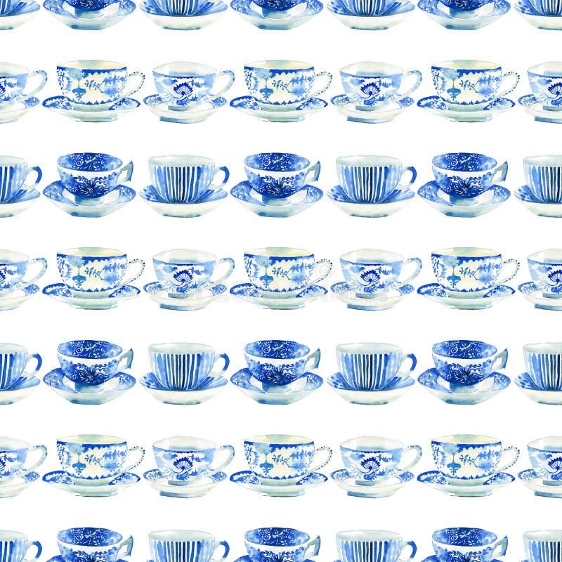 Beautiful artistic tender wonderful blue porcelain china tea cups pattern vector illustration