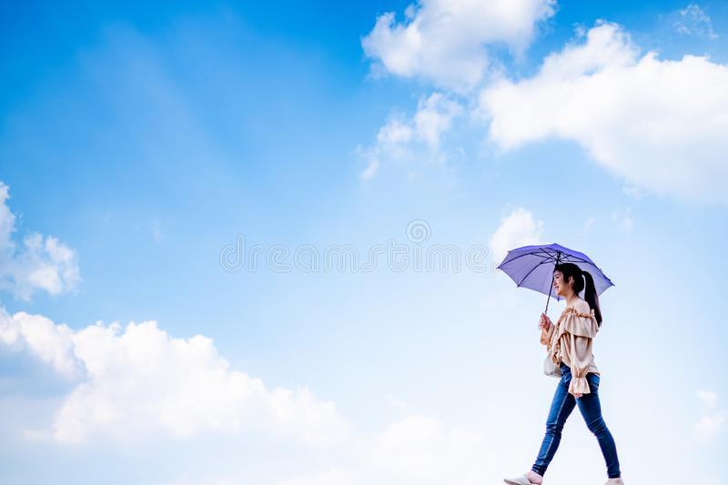 Lady with full nice sky royalty free stock photo