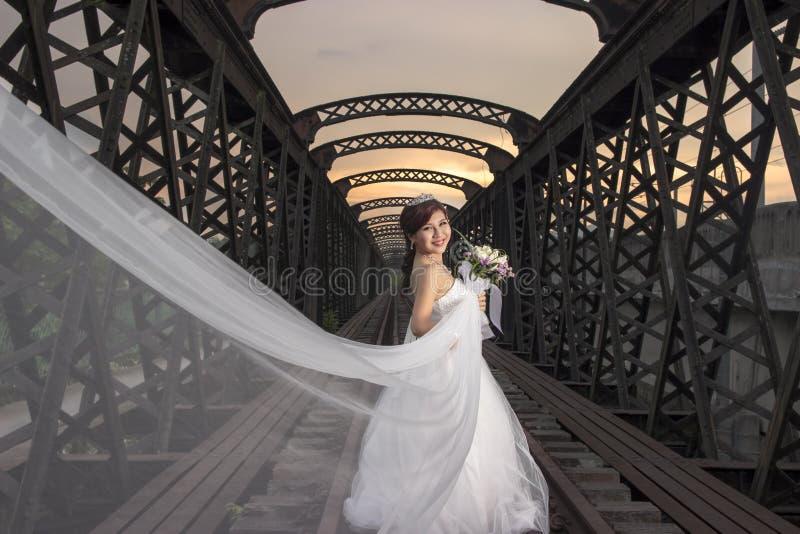 Beautiful asian bride royalty free stock photography
