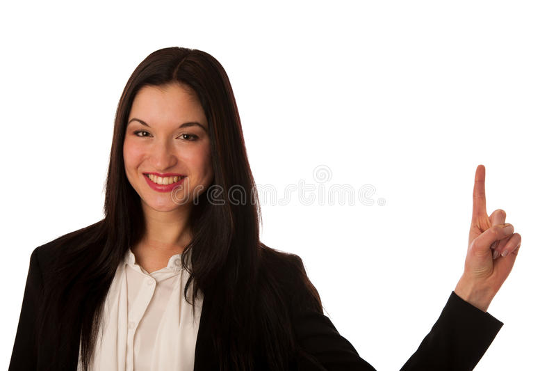 Beautiful asian business woman pointing into copy space - sales royalty free stock photography