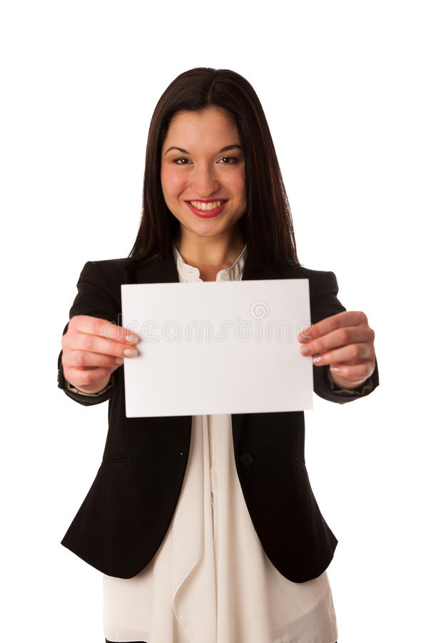 Beautiful asian business woman pointing into copy space - sales royalty free stock photos